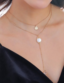 Fashion Envelope Crystal + Flat Pearl + Human Head Moon Natural Stone Head Pearl Multi-layer Necklace