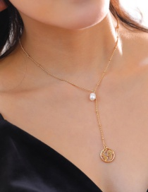 Fashion Pearl + Map Metal Letter Natural Stone Pearl Map Multi-layer Necklace