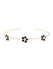 Fashion Black Drop Oil Flower Pearl Opening Collar
