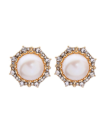 Fashion Gold S925 Silver Pin Pearl Geometric Circle Earrings