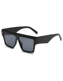 Fashion Black Frame Black Gray Piece Square Sunglasses