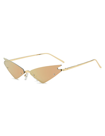 Fashion Golden Frame Cherry Powder Cat Eye Sunglasses