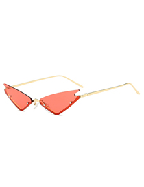 Fashion Gold Frame Red Film Cat Eye Sunglasses