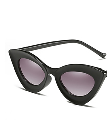 Fashion Bright Black Frame Gradient Gray Small Box Cat Eye Sunglasses