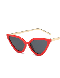 Fashion Red Frame Gray Piece Cat Eye Sunglasses