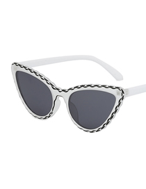Fashion Black And White Frame Cat Eye Sunglasses