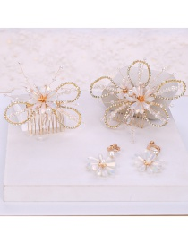 Fashion White Crystal Woven Hair Comb Earring Set