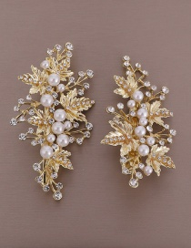 Fashion Gold Leaf Pearl-studded Hair Clip Set