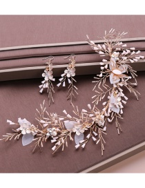Fashion White Crystal Woven Flower Hair Accessories Earrings Set