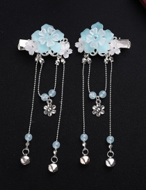 Fashion Light Blue Bell Tassel Hair Clip