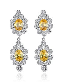 Fashion Main Stone Yellow Copper Inlaid Zirconium Earrings