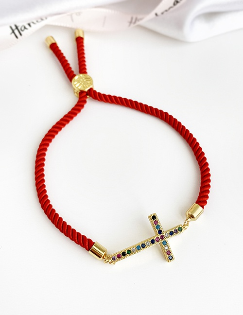 Fashion Red Copper Inlaid Zircon Braided Rope Cross Bracelet