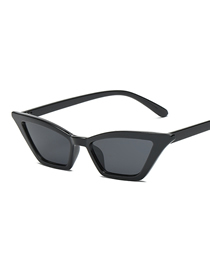 Fashion Black Frame Black Gray Piece Small Box Cat Eye Sunglasses Plastic Hinge