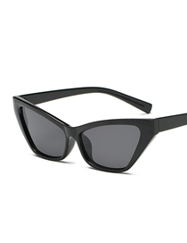 Fashion Bright Black Frame Black Gray Piece Cat Eye Sunglasses