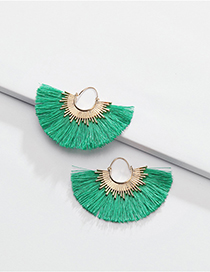 Fashion Green Alloy Cotton Thread Fringed Fan-shaped Earrings
