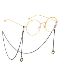 Fashion Black Hanging Neck Hollow Heart Chain Glasses Chain