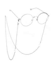 Fashion Silver Large And Bright Pearl Glasses Chain