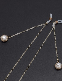 Fashion Gold Non-slip Metal Pearl Hollow Glasses Chain