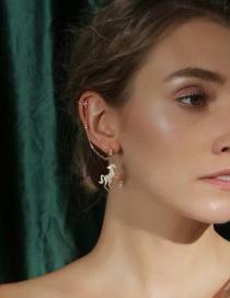 Fashion Gold S925 Silver Pin Unicorn Earrings