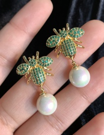 Fashion Green S925 Silver Needle Bee Pearl Inlaid With Zircon 18k Gold Earrings
