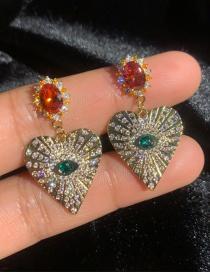 Fashion Gold S925 Silver Pin Eye Love Micro-inlaid Zircon Earrings