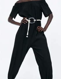 Fashion Black Off-the-shoulder Trousers