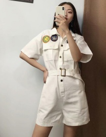 Fashion White Embroidered Tooling Jumpsuit