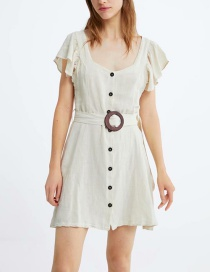 Fashion Beige Belted Small Flying Sleeve Dress
