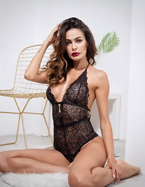 Fashion Black Deep V Openwork Lace Fun Jumpsuit