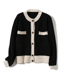 Fashion Black Contrast Knit Sweater