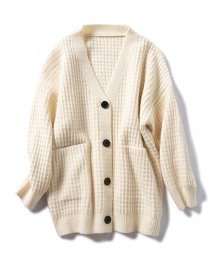 Fashion Beige Solid Color Plaid Cardigan