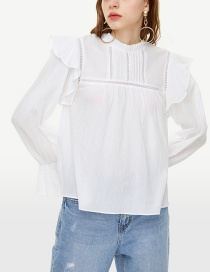 Fashion White Ruffled Collar Blouse