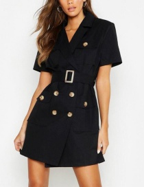 Fashion Black Double-breasted Suit Dress