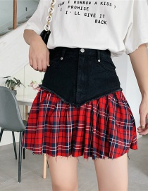Fashion Red Plaid Denim Stitching Pleated Skirt