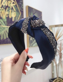 Fashion Navy Diamond Knotted Wide-brimmed Headband