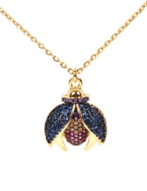Fashion Gold Micro-inlaid Diamond Beetle Titanium Steel Necklace