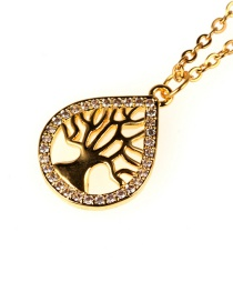 Fashion Gold Drop-shaped Life Tree Micro-inlaid Zircon Stainless Steel Color-protective Necklace