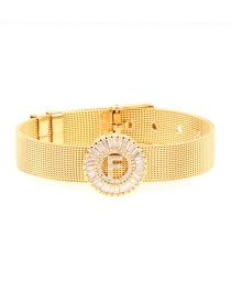Fashion Gold Micro-inlaid Zircon Letter Gold Gold Color Bracelet