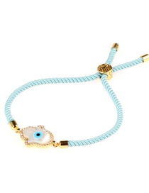 Fashion Light Blue Palm Micro-inlaid With Diamond Shells Pulling Milan Line Bracelet