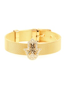 Fashion Gold Palm Inlaid Zircon Stainless Steel Gold Color Bracelet