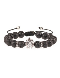 Fashion Silver 8mm Volcanic Rock Micro-inlaid Ghost Head Beaded Pull Bracelet