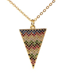 Fashion Color Micro-studded Triangle Necklace