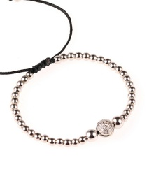 Fashion Silver Real Gold Plated Solid Copper Beads Micro-inlaid Zircon Bracelet