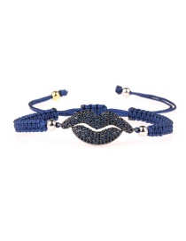 Fashion Ink-blue Colour Braided Mouth Micro-inlaid Zircon Bracelet