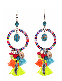 Fashion Color Alloy Resin Cotton Earrings