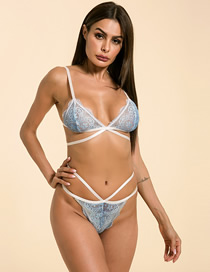 Fashion Blue Gradient Lace Sexy Lingerie Set
