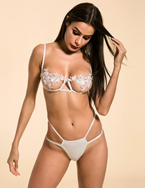 Fashion White Openwork Lace Flower Lingerie Set