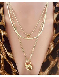 Fashion Gold Ring-and-loop Circle Stars Multi-layer Necklace