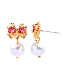 Fashion Red 925 Sterling Silver Butterfly Pearl Earrings