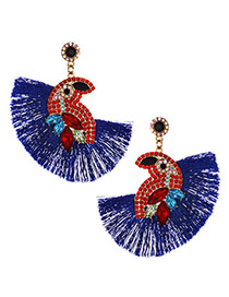 Fashion Royal Blue Alloy Diamond-studded Bird Tassel Earrings